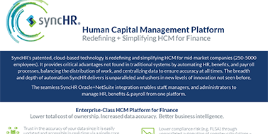 SyncHR Oracle+NetSuite Human Capital Management Product Sheet